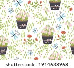spring seamless pattern with... | Shutterstock .eps vector #1914638968