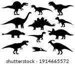 set silhouettes of dinosaurs.... | Shutterstock .eps vector #1914665572
