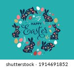 happy easter  decorated easter... | Shutterstock .eps vector #1914691852