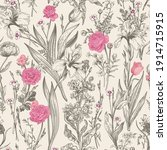 seamless floral graphic pattern.... | Shutterstock .eps vector #1914715915