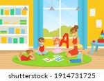 kindergarten teacher explaining ... | Shutterstock .eps vector #1914731725