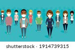 a large group of people in... | Shutterstock .eps vector #1914739315