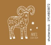 aries. linear zodiac sign.... | Shutterstock .eps vector #1914803872
