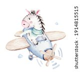 Watercolor Baby Cartoon Pilot...