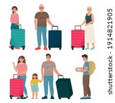 set of people travelling with... | Shutterstock .eps vector #1914821905