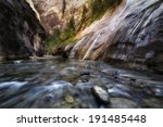 early on in the narrows of zion ... | Shutterstock . vector #191485448