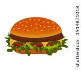 hamburger  classic burger ... | Shutterstock .eps vector #1914871018