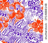 mix animal skin prints  tiger ... | Shutterstock .eps vector #1914888148
