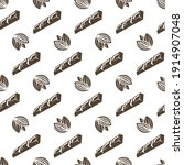 seamless pattern of cocoa beans ... | Shutterstock .eps vector #1914907048