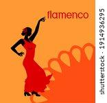 silhouette of flamenco dancer...   Shutterstock .eps vector #1914936295