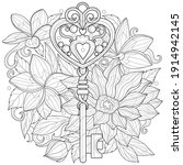 key among flowers.coloring book ... | Shutterstock .eps vector #1914942145
