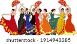 group of flamenco dancers in...   Shutterstock .eps vector #1914943285