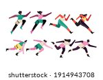 bundle of eight runners... | Shutterstock .eps vector #1914943708