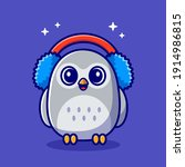 cute owl wearing earmuffs... | Shutterstock .eps vector #1914986815