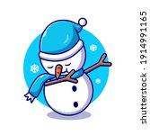 Cute Snowman Dabbing Cartoon...