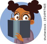 young cute african girl reading ... | Shutterstock .eps vector #1914997405