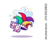 jester fools hat and domino... | Shutterstock .eps vector #1915023802