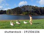 Little Girl Chasing Wild Ducks...