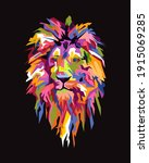 abstract geometric head of lion.... | Shutterstock .eps vector #1915069285