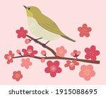 white eye and plum blossom...   Shutterstock .eps vector #1915088695
