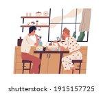couple having breakfast or... | Shutterstock .eps vector #1915157725