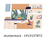 cozy kitchen and dining room...   Shutterstock .eps vector #1915157872
