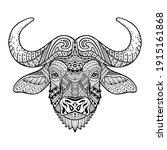 african buffalo. patterned head ... | Shutterstock . vector #1915161868