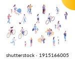 people crowd  city street...   Shutterstock .eps vector #1915166005