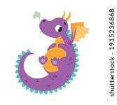 cute flying little baby dragon  ... | Shutterstock .eps vector #1915236868