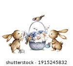 Easter Cartoon Bunny With...