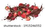 splash of liquid chocolate and... | Shutterstock . vector #1915246552