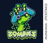 zombie hand holding joystick... | Shutterstock .eps vector #1915276612