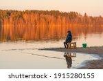 fishing alone. big beautiful... | Shutterstock . vector #1915280155