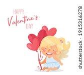cute baby girl angel.... | Shutterstock .eps vector #1915316278