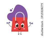 cute shopping bag make gym with ... | Shutterstock .eps vector #1915328275