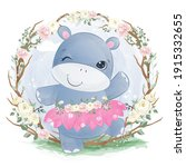 adorable baby hippo in the...   Shutterstock .eps vector #1915332655