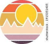 vintage retro striped sunset... | Shutterstock .eps vector #1915351405