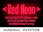 red neon alphabet font. neon... | Shutterstock .eps vector #1915375198