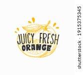 juicy fresh oranges badge ... | Shutterstock .eps vector #1915375345