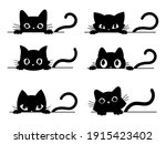 Set Of Black Cats Looking Out...