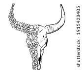 portrait of bull skull with... | Shutterstock .eps vector #1915423405