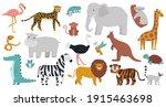 cute african animals. wood ... | Shutterstock .eps vector #1915463698