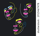 surreal face painting. one line ... | Shutterstock .eps vector #1915467478