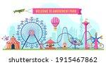 amusement park landscape.... | Shutterstock .eps vector #1915467862