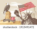 collage with the monument and... | Shutterstock .eps vector #1915491472