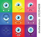 set of funny cartoon expression ... | Shutterstock .eps vector #191554058