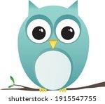 owl perching on branch clip art | Shutterstock .eps vector #1915547755