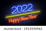 2022 happy new year neon... | Shutterstock .eps vector #1915550962