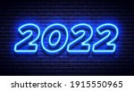 2022 new year glowing blue neon ... | Shutterstock .eps vector #1915550965