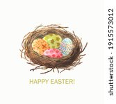 wooden nest  with isolated eggs ... | Shutterstock .eps vector #1915573012